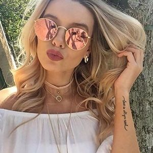 Rose gold//pink mirrored lens round retro sunnies